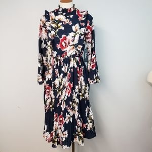 Lulus Black Floral Bell Sleeves Pleated Midi Dress